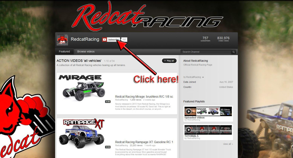 Redcat Racing RC Youtube Channel Subscribe Image
