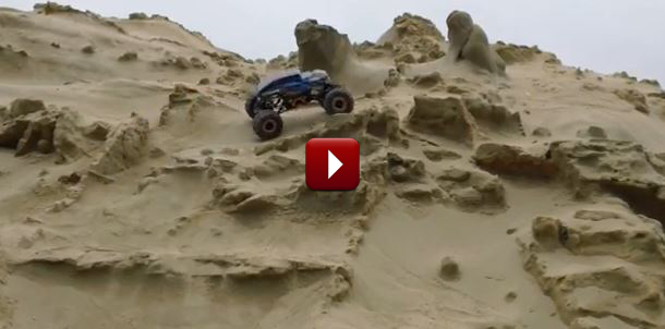 Redcat Racing Rockslide RS10 RC Rock Crawler Review at the Beach Video Image